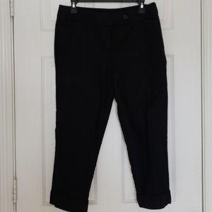 Black Cropped Cuffed Slacks